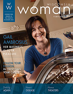 Gail on the cover of Wisconsin Woman Magazine