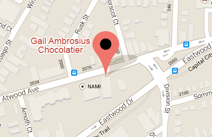 Map to Gail Ambrosius Chocolatier at 2083 Atwood Ave