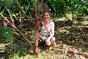 Gail under a cacao tree
