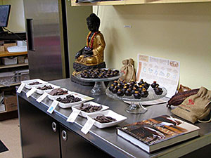 A table full of chocolates ready for a tasting event