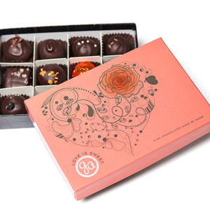 Love Is Sweet 12-piece Valentines Box of gourmet dark chocolate truffles