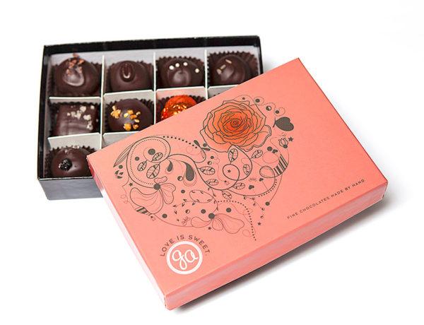 Love Is Sweet 12-piece Valentines Box of gourmet dark chocolate truffles