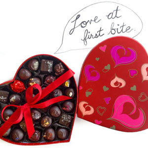 Valentine 30-piece Heart-Shaped Box of gourmet chocolate truffles