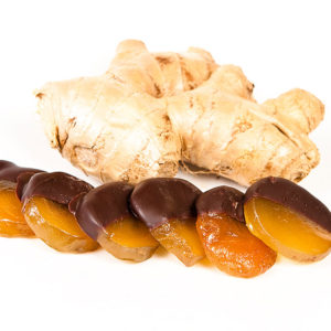 Chocolate-Dipped Ginger with 70% Colombian dark chocolate