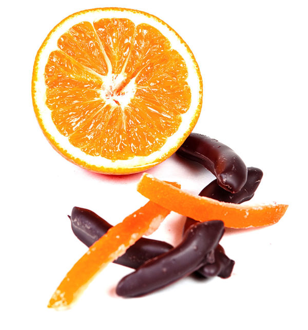 Chocolate-Dipped Orange Peels with 70% Colombian dark chocolate